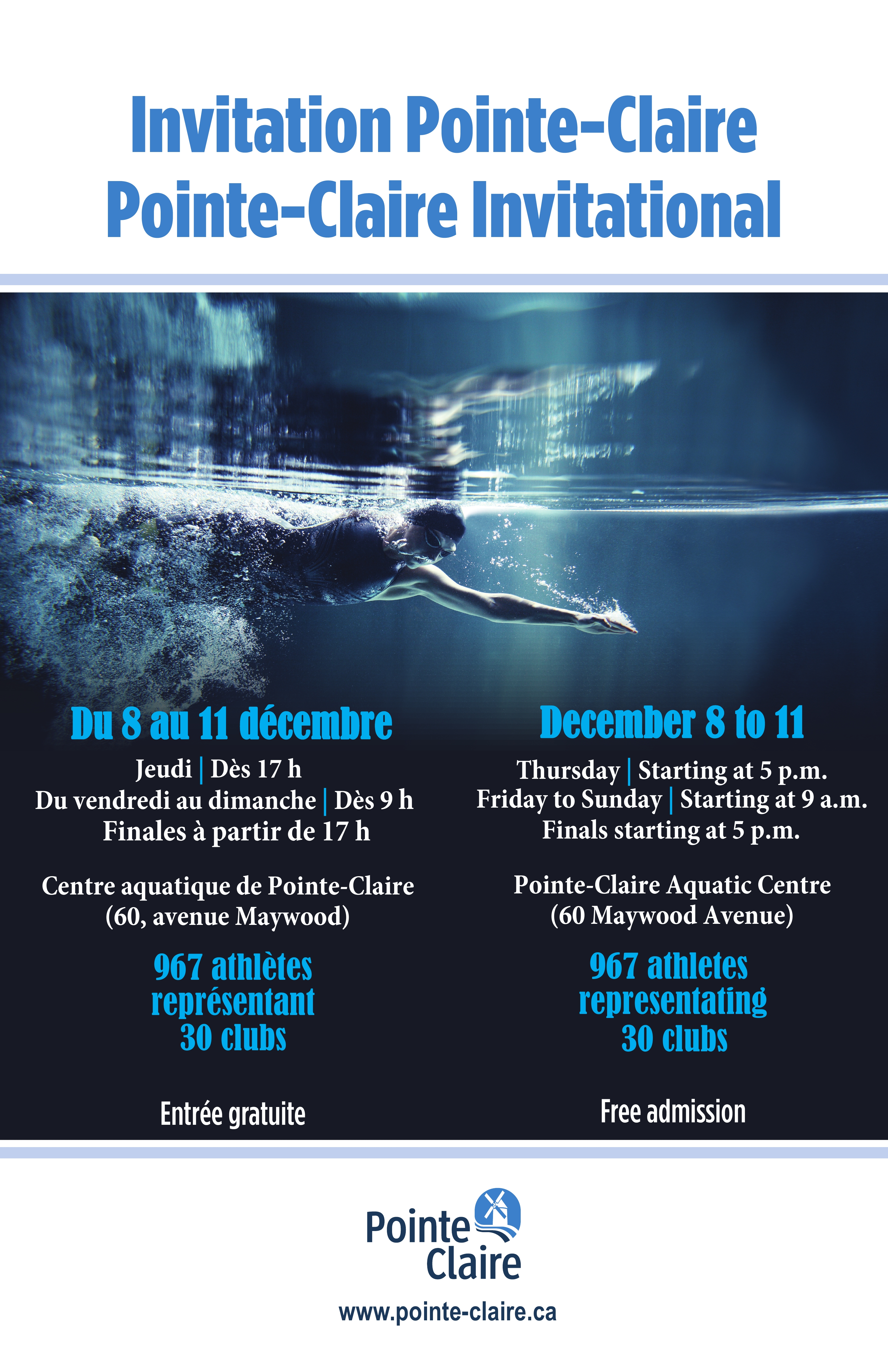 Pointe claire invitational ville de pointe claire for Pointe claire swimming pool schedule