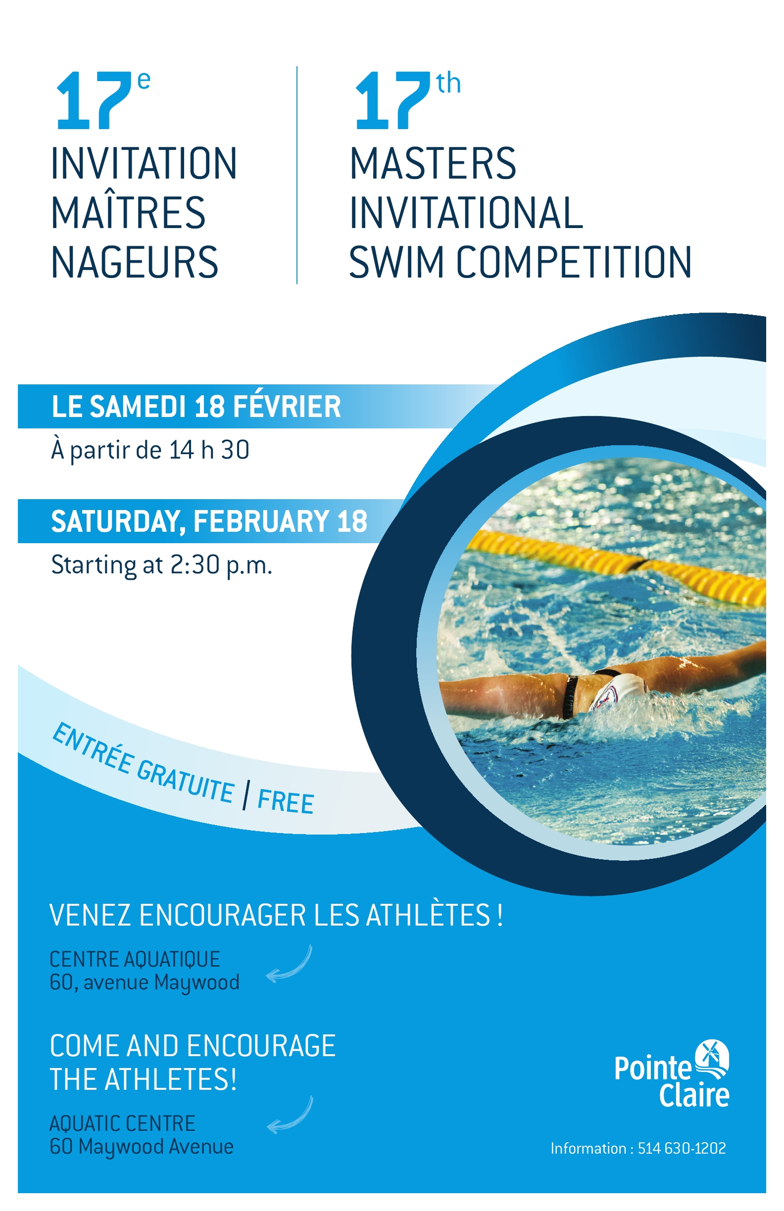 17th masters invitational swim competition ville de pointe claire for Pointe claire swimming pool schedule