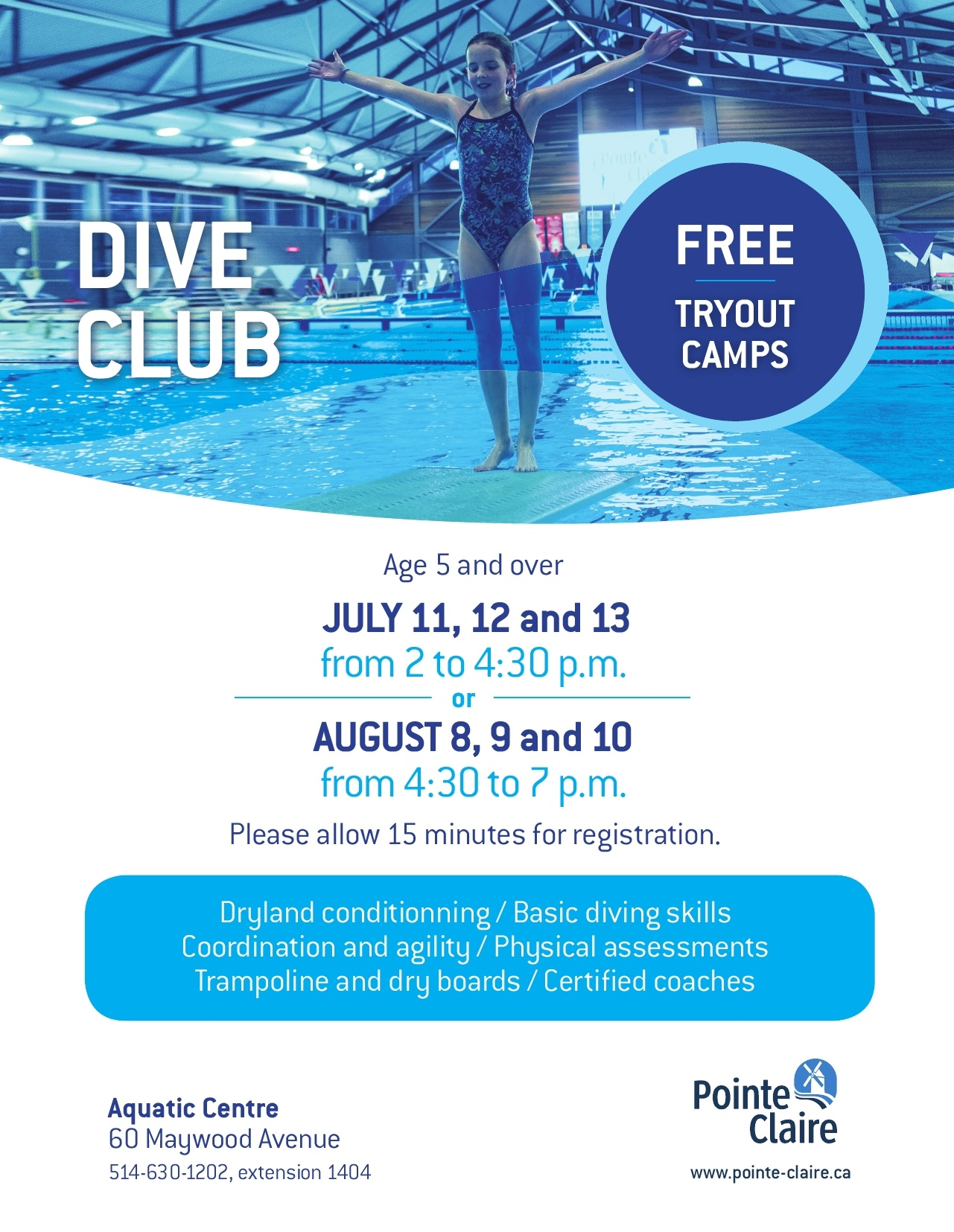 Tryout Camps - Dive Club - Ville de Pointe-Claire
